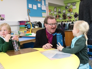 Bishop sees new classrooms at island school