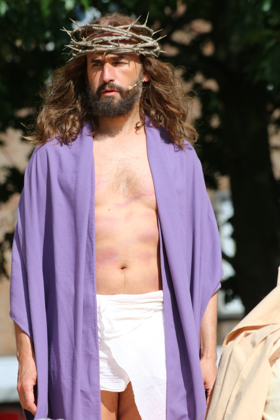 James Burke-Dunsmore as Jesus is crowned with thorns as he prepares to face the cross