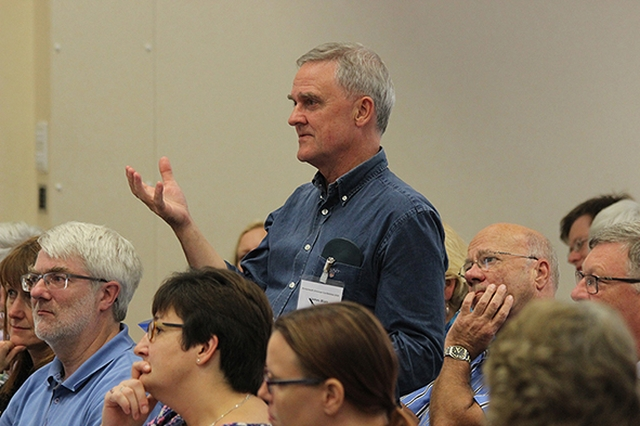 Making a point at the Diocesan Conference in 2015