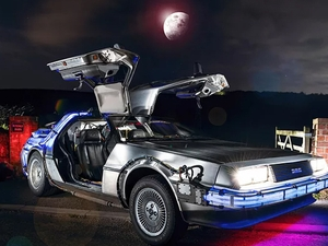 DeLorean car takes cathedral visitors Back to the Future