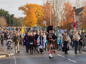 Piper leads Denmead Remembrance parade