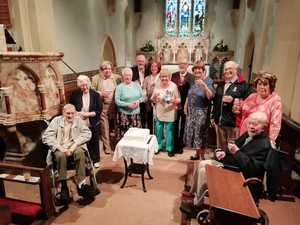 Churchgoers celebrate 50th and 60th wedding anniversaries together
