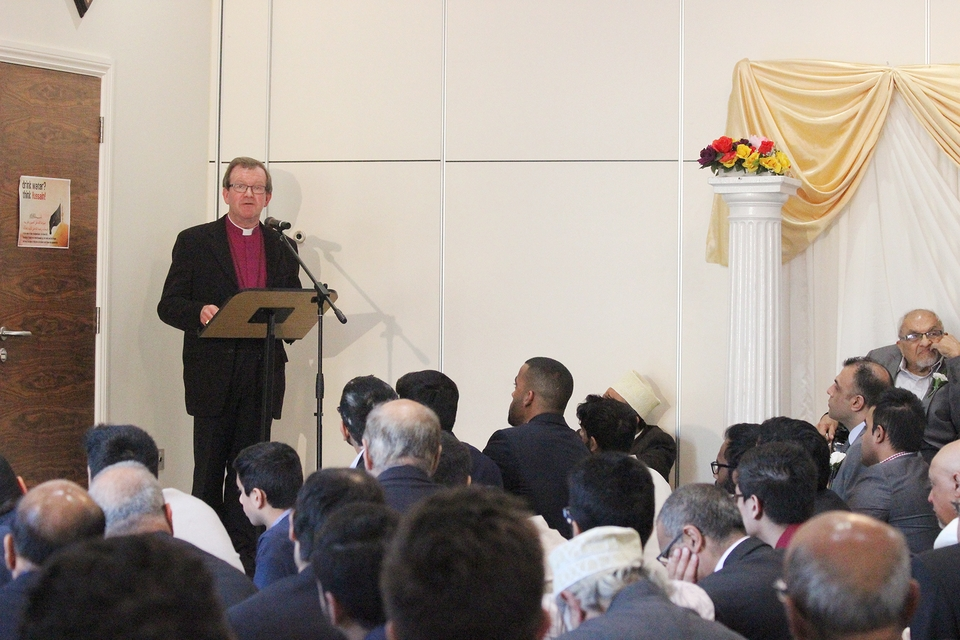 Bishop Christopher speaks to those gathered at the Al Mahdi Centre near Fareham