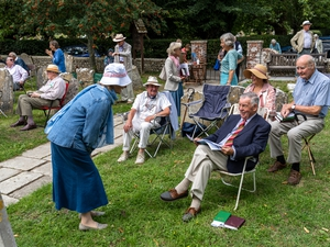 Worshippers meet for Matins in the churchyard