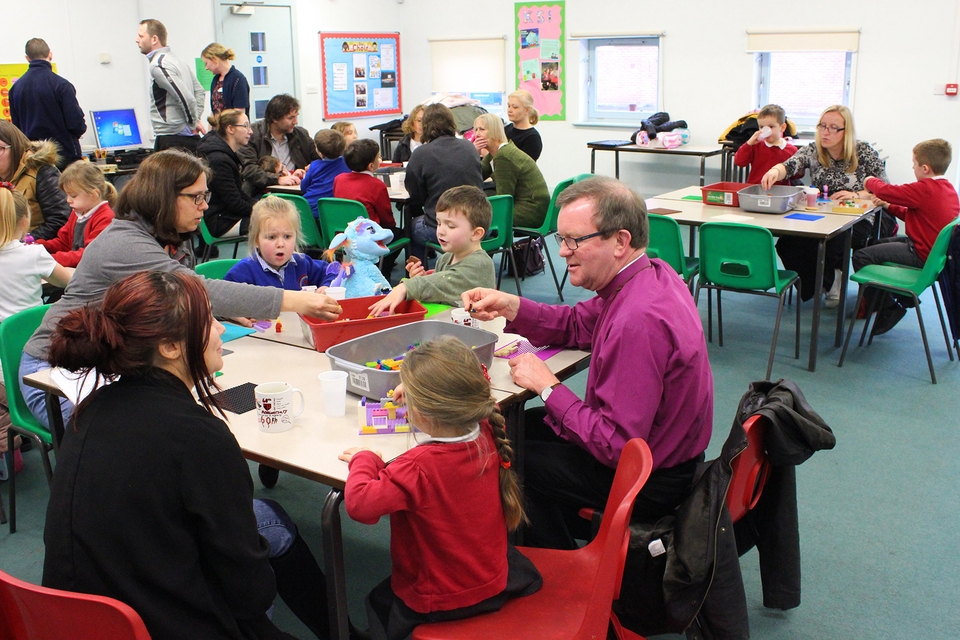 Bishop Christopher at the after-school Lego Club in Highbury Primary School